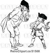 Vector Clip Art of Retro Father Bending down to Talk to His Son by Prawny Vintage