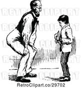 Vector Clip Art of Retro Father Bending to Talk to His Son by Prawny Vintage