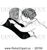 Vector Clip Art of Retro Father Son Kissing His Cheek by Prawny Vintage