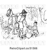 Vector Clip Art of Retro Father Walking His KChildren and Horse Through the Woods by Prawny Vintage