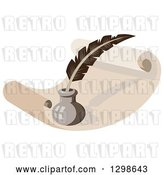 Vector Clip Art of Retro Feather Quill Pen and Ink Well on a Sheet of Scroll Paper by Patrimonio