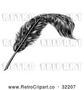 April 16th, 2018: Vector Clip Art of Retro Feather Quill Pen by AtStockIllustration
