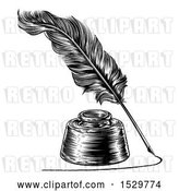 Vector Clip Art of Retro Feather Quill Pen Drawing a Line Around an Ink Well by AtStockIllustration