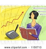 Vector Clip Art of Retro Female Accountant and Charts by BNP Design Studio