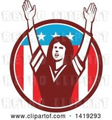 Vector Clip Art of Retro Female American Football Fan Cheering with Her Arms up in an American Circle by Patrimonio