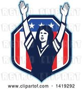 Vector Clip Art of Retro Female American Football Fan Cheering with Her Arms up in an American Shield by Patrimonio