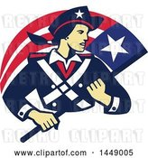 Vector Clip Art of Retro Female American Patriot Minuteman Revolutionary Soldier with a Flag Banner by Patrimonio