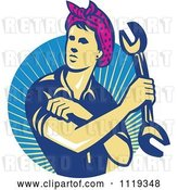 Vector Clip Art of Retro Female Auto Mechanic Flexing and Holding a Wrench over Rays by Patrimonio