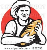 Vector Clip Art of Retro Female Baker Holding a Bread Loaf over a Red Circle by Patrimonio