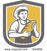 Vector Clip Art of Retro Female Baker Holding Bread in a Shield by Patrimonio