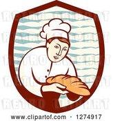 Vector Clip Art of Retro Female Baker Holding out Bread in a Shield by Patrimonio