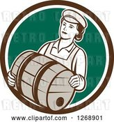 Vector Clip Art of Retro Female Bartender Carrying a Beer Keg Barrel in a Brown White and Green Circle by Patrimonio