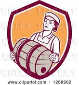 Vector Clip Art of Retro Female Bartender Carrying a Beer Keg Barrel in a Shield by Patrimonio