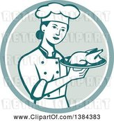 Vector Clip Art of Retro Female Chef Holding a Roasted Chicken on a Plate in a Circle by Patrimonio