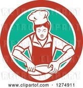 Vector Clip Art of Retro Female Chef Mixing Ingredients in a Bowl Inside a Red White and Green Circle by Patrimonio