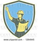 Vector Clip Art of Retro Female Construction Worker Engineer in a Yellow Green White and Blue Shield by Patrimonio