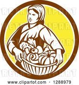 Vector Clip Art of Retro Female Farmer Holding a Basket of Harvest Produce in a Brown White and Yellow Circle by Patrimonio