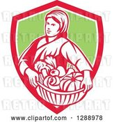 Vector Clip Art of Retro Female Farmer Holding a Basket of Harvest Produce in a Red White and Orange Shield by Patrimonio