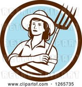 Vector Clip Art of Retro Female Farmer Holding a Pitchfork in a Brown White and Blue Circle by Patrimonio