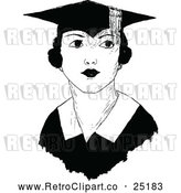 Vector Clip Art of Retro Female Graduate by Prawny Vintage
