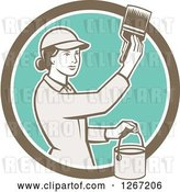 Vector Clip Art of Retro Female House Painter Using a Brush in a Brown White and Turquoise Circle by Patrimonio