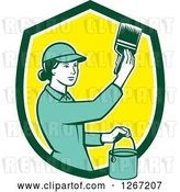 Vector Clip Art of Retro Female House Painter Using a Brush in a Green White and Yellow Shield by Patrimonio
