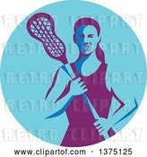 Vector Clip Art of Retro Female Lacrosse Player Holding a Stick in a Purple and Blue Circle by Patrimonio