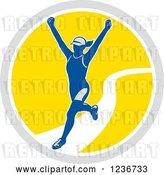 Vector Clip Art of Retro Female Marathon Runner Finishing in a Circle by Patrimonio