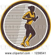 Vector Clip Art of Retro Female Marathon Runner in a Brown White and Yellow Circle by Patrimonio
