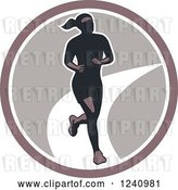 Vector Clip Art of Retro Female Marathon Runner in a Circle by Patrimonio