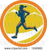 Vector Clip Art of Retro Female Marathon Runner in a Circle of Muntains by Patrimonio