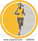 Vector Clip Art of Retro Female Marathon Runner in a Yellow and Gray Circle by Patrimonio