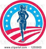 Vector Clip Art of Retro Female Marathon Runner in an American Circle by Patrimonio