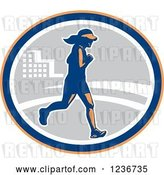 Vector Clip Art of Retro Female Marathon Runner in an Oval by Patrimonio