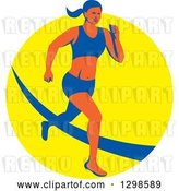Vector Clip Art of Retro Female Marathon Runner over a Yellow Circle by Patrimonio