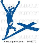 Vector Clip Art of Retro Female Marathon Runner with a Shadow Cross by Patrimonio