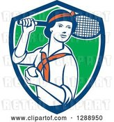 Vector Clip Art of Retro Female Tennis Player Holding a Racket and Ball in a Blue White and Green Shield by Patrimonio