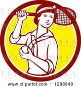 Vector Clip Art of Retro Female Tennis Player Holding a Racket and Ball in a Maroon White and Yellow Circle by Patrimonio