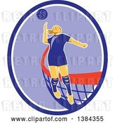 Vector Clip Art of Retro Female Volleyball Player Jumping and Spiking the Ball in a Blue Purple and White Oval by Patrimonio