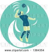 Vector Clip Art of Retro Female Volleyball Player Jumping and Spiking the Ball in a Turquoise Oval by Patrimonio