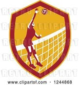 Vector Clip Art of Retro Female Volleyball Player Spiking a Ball in a Shield by Patrimonio