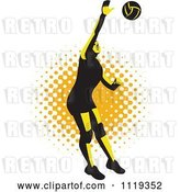 Vector Clip Art of Retro Female Volleyball Player Spiking over Halftone by Patrimonio