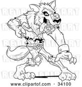 Vector Clip Art of Retro Ferocious Wolfman in Ripped Clothes, Standing in a Defensive Stance by Lawrence Christmas Illustration