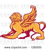 Vector Clip Art of Retro Fierce Winged Lion by Patrimonio