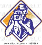 Vector Clip Art of Retro Film Crew Cameraman over a Diamond of Rays by Patrimonio