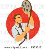 Vector Clip Art of Retro Film Editor Looking at a Reel by Patrimonio