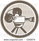 Vector Clip Art of Retro Film Movie Camera in a Circle by Patrimonio