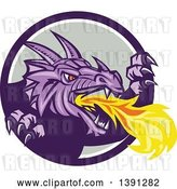 Vector Clip Art of Retro Fire Breathing Dragon Emerging from a Purple White and Gray Circle by Patrimonio