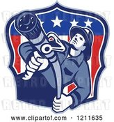 Vector Clip Art of Retro Fire Fighter Guy Holding a Hose over an American Flag Shield by Patrimonio