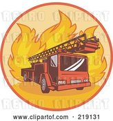 Vector Clip Art of Retro Fire Truck and Flames Logo by Patrimonio